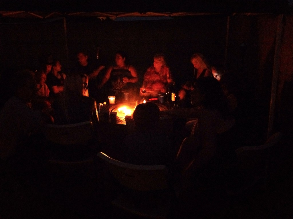 Sitting around the fire pit at the wrap party